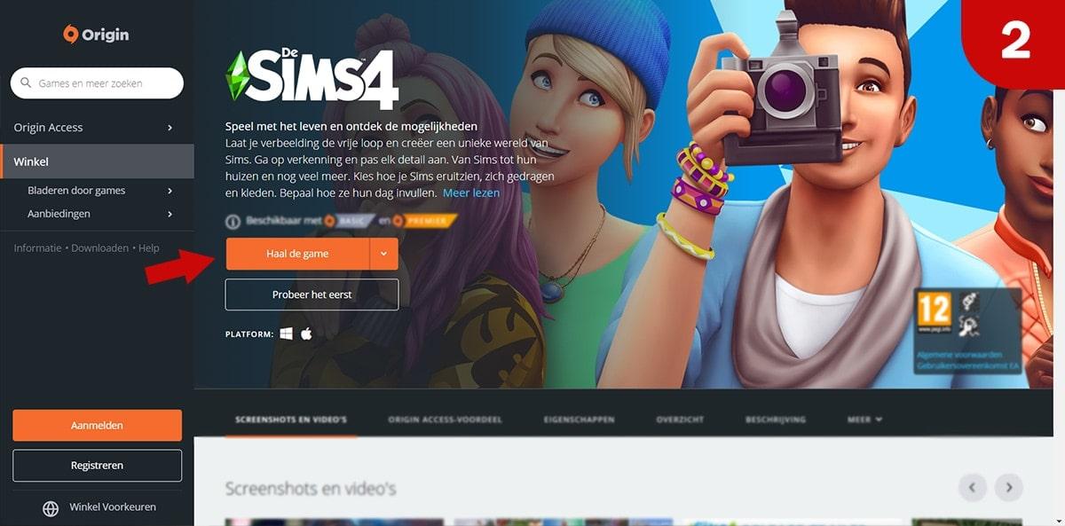 Download Sims 4 games bij Origin - Stap 2